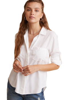 Bella Dahl Split Back Button Down Shirt In White