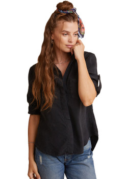 Bella Dahl Split Back Button Down Shirt In Vintage Black