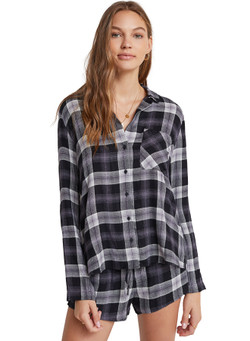 Bella Dahl Sleeve Plaid Button Down Shirt