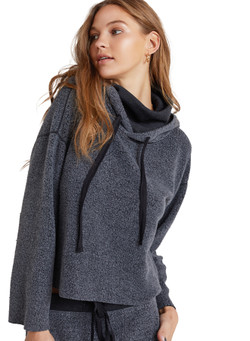 Bella Dahl Women's Turtleneck Hoodie In Vintage  Black