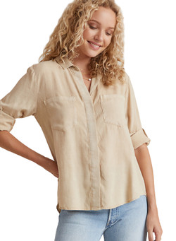 CoBella Dahl Split Back Button Down Shirt In Soft Khaki