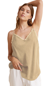 Bella Dahl Frayed Cami In Soft Khaki