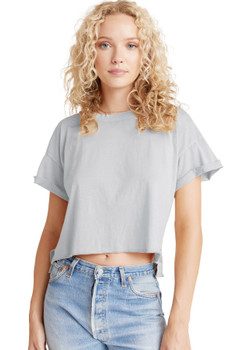 Bella Dahl Rolled Short Sleeve Tee In Foggy Sky