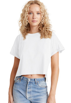 Bella Dahl Rolled Short Sleeve Tee In White