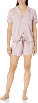 Splendid Notch Collar Short Sleeve Pajama Set In Pink