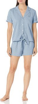 Splendid Notch Collar Short Sleeve Pajama Set In Blue