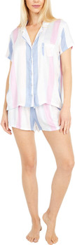 Splendid Classic Rayon Short Sleeve Top and Short Pajama Set PJ