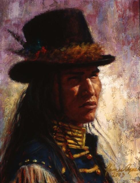 BLue Coat and Top Hat, Lakota, Oil on Panel, 2006