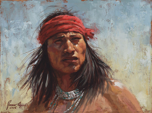 Chiricahua Gaze, Chiricahua Apache warrior painting, by James Ayers