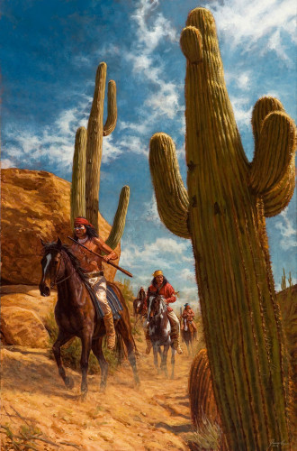 Among the Desert Giants - Apache painting - James Ayers