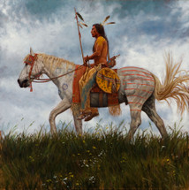 Lakota Horseman - Lakota warrior painting - James Ayers