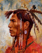 Feathers And Bone Pipes, Blackfoot painting, James Ayers