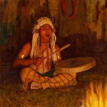Sacred-Drummer-Blackfoot-Shaman-Giclee-James-Ayers