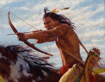 Taking Aim, Crow Warrior on horseback, James Ayers Studio