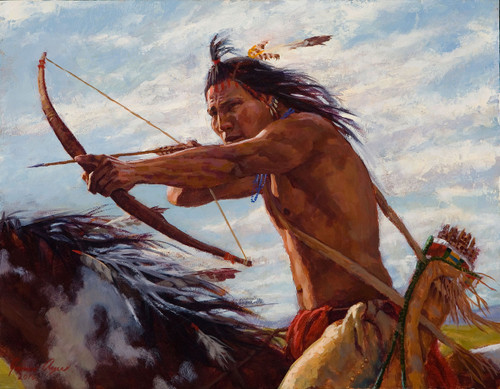 Taking Aim, Crow Warrior on horseback, James Ayers Studio