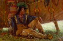 Reflections of a Piikani Warrior - Blackfeet Warrior - James Ayers Painting