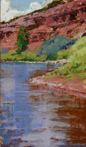 Flowing Abstractions depicts a red crimson cliff overhanging a riverbank. Painted by James Ayers