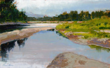 River Shapes and reflections features a confluence of rivers branching out in the high plains of Wyoming. Painted by James Ayers