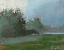 Shades of Mist depicts a beautiful grassy meadow with the tones of gray and green in defused light. Painted by James Ayers