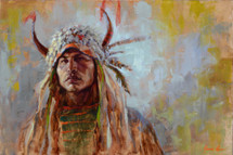 Split Horn Soldier depicts a strong Blackfeet warrior with split horn buffalo headdress Painted by James Ayers