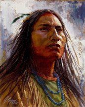 The Brave, Shoshone warrior painting, by James Ayers