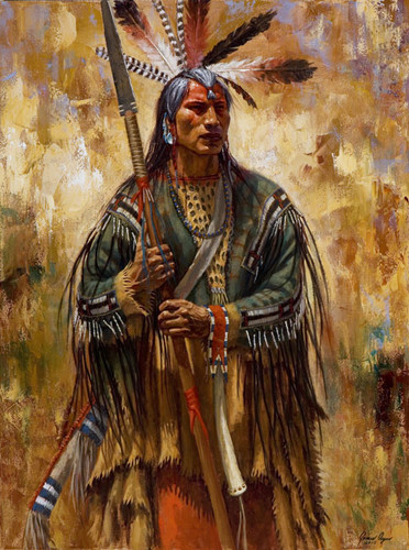 Mandan War Leader, Mandan warrior painting, by James Ayers