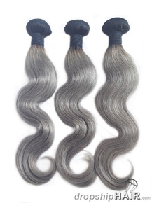 Ombre 1BTGrey w / 1B Root Hair Weft 2-Tone Color