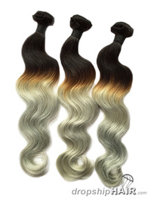 1 - Ombre 1BT-Grey Hair Weft in 3-Tone Color