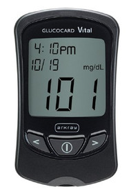 Blood Glucose Meter Kit Glucocard Vital 7 Seconds Stores Up To 250 Results, 14- and 30-Day Averaging Automatic Coding 761100 Case/4