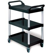 Utility Cart Aluminum 33.625 X 18.625 X 37.75 Inch 3-Shelves Black RCP 3424-88 BLA Each/1