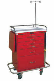 Emergency Cart Steel 22 X 38 X 44.5 Inch 6-Drawer Red 6401 Each/1