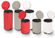 Trash Can with Plastic Liner entrust 32 Quart Beige Steel Step On Round 81-45268 Each/1