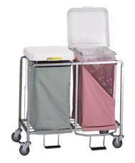 Double Hamper with Bags Deluxe 4 Casters 30 - 35 gal. 674WHITE Each/1