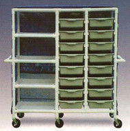 600 series Linen Cart 3 X 1-1/4 Inch Extra Wide Casters 75 Lb Per Shelf 684-16M Each/1 - 97083409