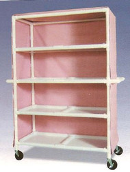 600 Series Linen Cart 5 X 1-1/4 Inch Deluxe Heavy Duty Reinforced Standard 5X Casters 125 Lb Per Shelf 696-24M/WHITE Each/1