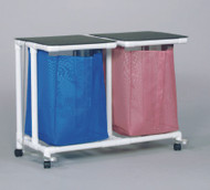 Double Hamper with Bags Standard Jumbo 4 Casters 55 gal. VL JH2 FP MESH WINEBERRY Each/1