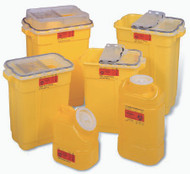 Chemotherapy Sharps Container 1-Piece 18H X 7.5W X 10.5D Inch 5 Gallon Yellow Base Vertical Entry Lid 305578 Each/1