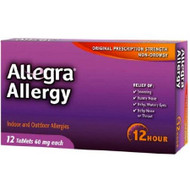 Allergy Relief Allegra 60 mg Strength Tablet 12 per Box 2140713 Box/1