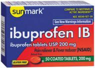 Pain Relief sunmark 200 mg Strength Tablet 50 per Bottle 1724574 BT/50