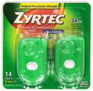 Allergy Relief Zyrtec 10 mg Strength Tablet 14 per Bottle 1231240 Box/14