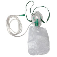 NonRebreather Oxygen Mask Elongated Adult One Size Fits Most Adjustable Nose Clip / Elastic Strap RES2102 Case/50