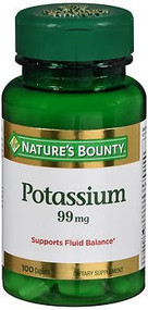 Potassium Gluconate Supplement Nature's Bounty 99 mg Strength Caplet 100 per Bottle 1263185 BT/1