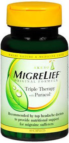Migraine Relief Supplement Migrelief 400 mg / 360 mg /100 mg Strength Caplet 60 per Bottle 1292127 BT/1