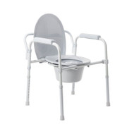 Commode Chair McKesson Fixed Arm Steel Frame Steel Back Bar / Seat Lid Back 15.5 to 21.75 Inch 146-11148N-4 Case/4