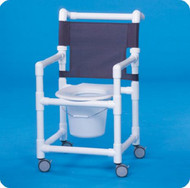 Commode / Shower Chair Select Fixed Arm PVC Frame Mesh Back 17 Inch Clearance ESC17 P Each/1