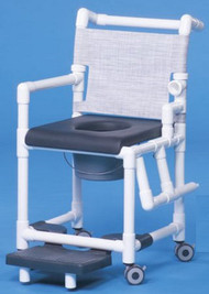 Commode / Shower Chair Deluxe Left Drop Arm PVC Frame Mesh Back 20 Inch Clearance SCC767N Each/1