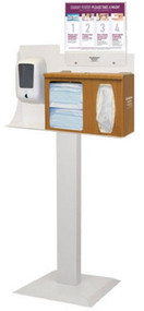 BOWMAN¨ Hygiene Dispensing Station Maple ABS Fauxwood Plastic Manual Floor Stand BD116-0023 Each/1