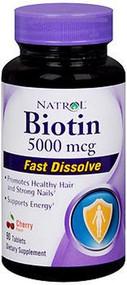 Biotin Supplement Natrol¨ 5000 mcg Strength Tablet 90 per Bottle Cherry 2027266 Bottle/1