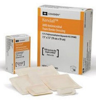 Antimicrobial Foam Dressing Kendallª AMD 3-1/2 X 3-1/2 Inch Square Adhesive with Border Sterile 55544BAMD Case/50