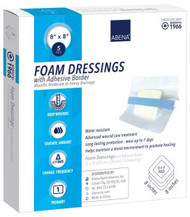 Foam Dressing Abena¨ 8 X 8 Inch Square Adhesive with Border Sterile 1966 Case/50